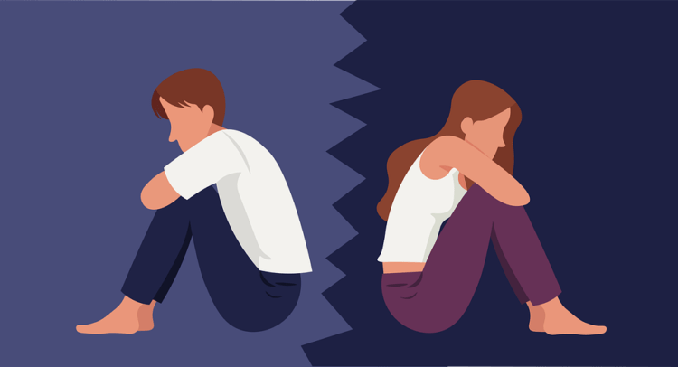 An illustration of a couple feeling lonely