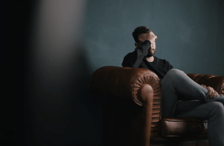 A man in anxiety therapy